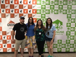 Group shot of the attending OpenSUSE and GNOME boards. From left to right: Simon Lees, Ekaterina Gerasimova, Nuritzi Sanchez, and Ana María Martínez Gómez.