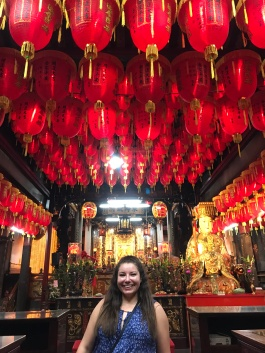 Visiting a temple while at the night market