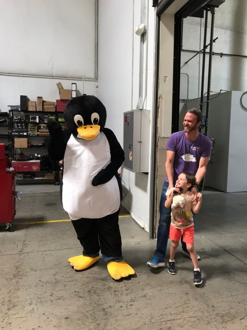 Tux made a special appearance on the System 76 warehouse tour